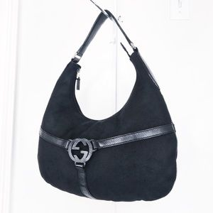 Gucci Blk Denim & Leather Reins Hobo Shoulder Bag